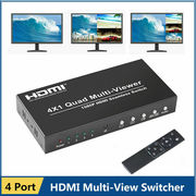 1080P HDMI 4x1 Quad Multi-viewer Converter PIP Seamless Switcher Remot